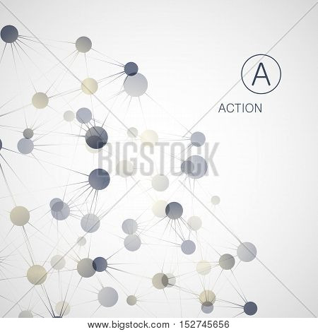 Dynamic molecule structure. Science and connection concept. Neurons abstract ball.