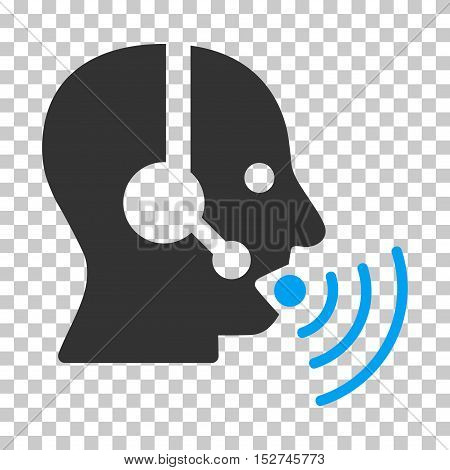 Blue And Gray Operator Talking Sound Waves toolbar pictogram. Vector pictograph style is a flat bicolor symbol on chess transparent background.