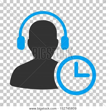 Blue And Gray Operator Time interface pictogram. Vector pictogram style is a flat bicolor symbol on chess transparent background.