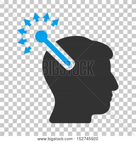 Blue And Gray Optical Neural Interface toolbar pictogram. Vector pictograph style is a flat bicolor symbol on chess transparent background.