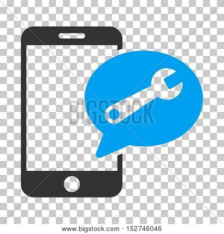 Blue And Gray Phone Service SMS interface pictogram. Vector pictogram style is a flat bicolor symbol on chess transparent background.