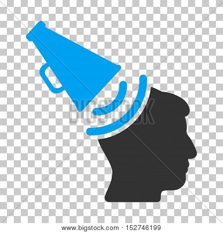 Blue And Gray Propaganda Megaphone interface icon. Vector pictogram style is a flat bicolor symbol on chess transparent background.