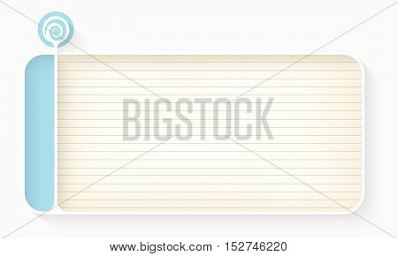 White text box for your text with lined paper and spiral