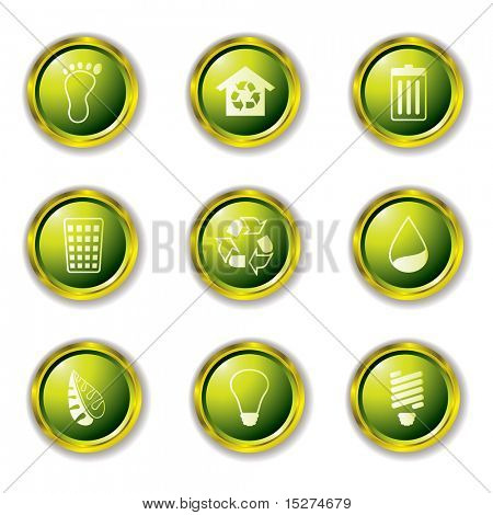 Environmental Buttons in green with metal gold rims and drop shadow
