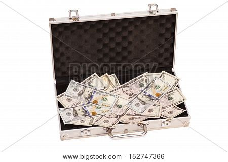 Open silver case with dollars on white background