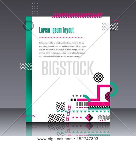 Abstract interesting geometric design in fresh colors with space for type