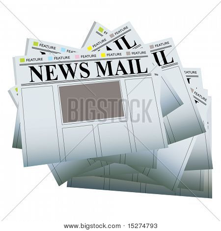 Pile of newspapers with blank areas to add your own text and images