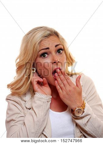 A image of a surprised American caucasian blond woman