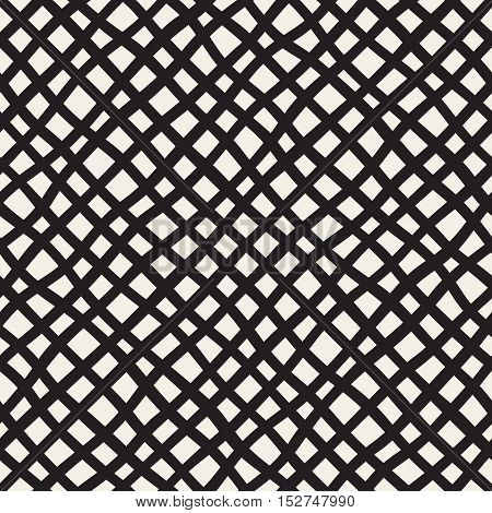 Vector Seamless Black and White Hand Drawn Diagonal Grid Pattern. Abstract Freehand Background Design