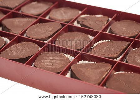 Box of sweet chocolate candies isolated on white