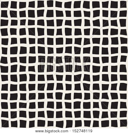 Vector Seamless Black and White Hand Drawn Grid Pattern. Abstract Freehand Background Design