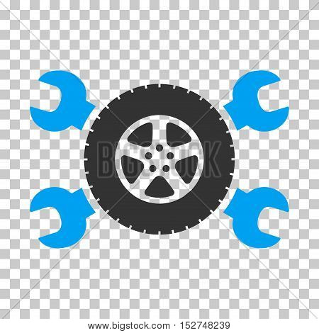 Blue And Gray Tire Service Wrenches toolbar pictogram. Vector pictograph style is a flat bicolor symbol on chess transparent background.