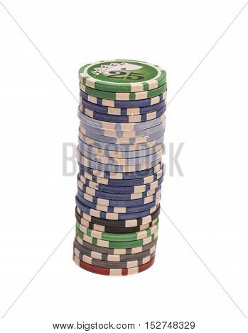 Stack of chips isolated on white background