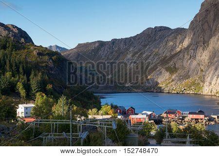Fishing village Nusfjord at the Lofoten, Norway