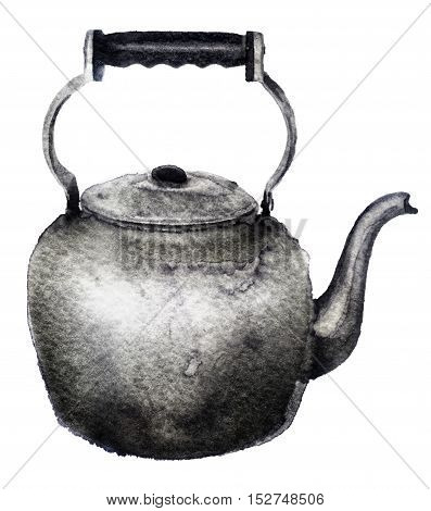 watercolor sketch of a kettle on white background