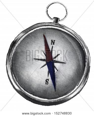watercolor sketch of a compass on a white background