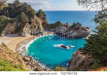 at the scenic landscape of McWay Falls near Big Sur California