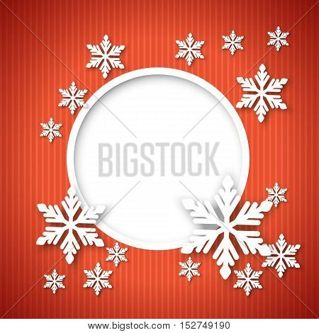 Vector christmas red greeting card with round place for text and snowflakes.