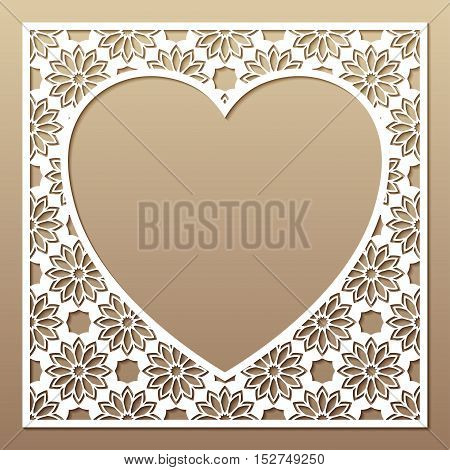 Openwork square frame with heart. Laser cutting template for greeting cards envelopes invitations interior decorative elements.