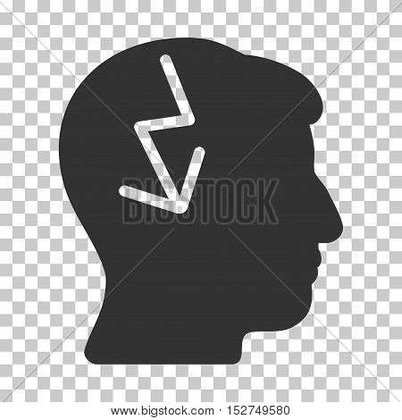 Gray Brain Electric Strike toolbar pictogram. Vector pictograph style is a flat symbol on chess transparent background.