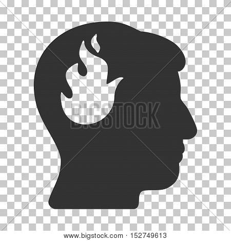 Gray Brain Fire interface toolbar pictogram. Vector pictogram style is a flat symbol on chess transparent background.