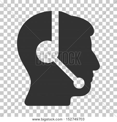 Gray Call Center Operator toolbar pictogram. Vector pictograph style is a flat symbol on chess transparent background.