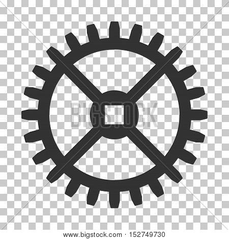 Gray Clock Gear interface toolbar pictogram. Vector pictograph style is a flat symbol on chess transparent background.