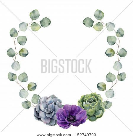 Watercolor floral border with silver dollar eucalyptus leaves, succulent and anemone flower. Hand painted wreath with branches of eucalyptus isolated on white background. For design or background.