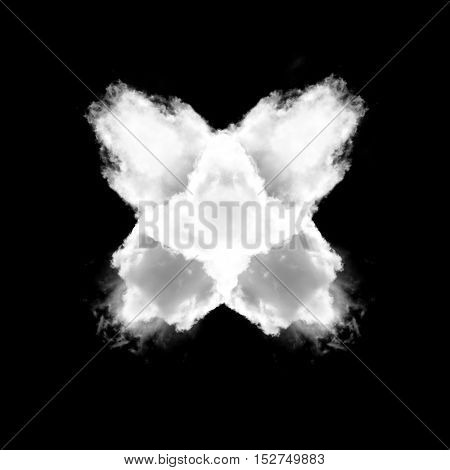 Cross made of white clouds isolated over black background