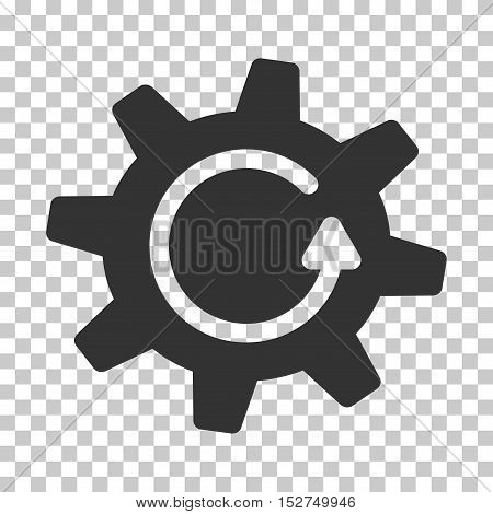 Gray Cogwheel Rotation Direction toolbar pictogram. Vector pictograph style is a flat symbol on chess transparent background.