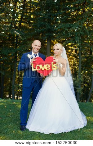 Newlyweds are holding a red heart on a green glade