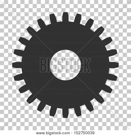 Gray Cogwheel interface toolbar pictogram. Vector pictogram style is a flat symbol on chess transparent background.