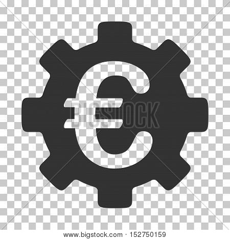Gray Euro Development Gear interface icon. Vector pictogram style is a flat symbol on chess transparent background.