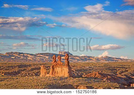 Sunset over Goblin state park near Hanksville, Utah, USA