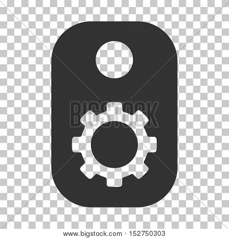 Gray Gear Tag interface toolbar pictogram. Vector pictogram style is a flat symbol on chess transparent background.