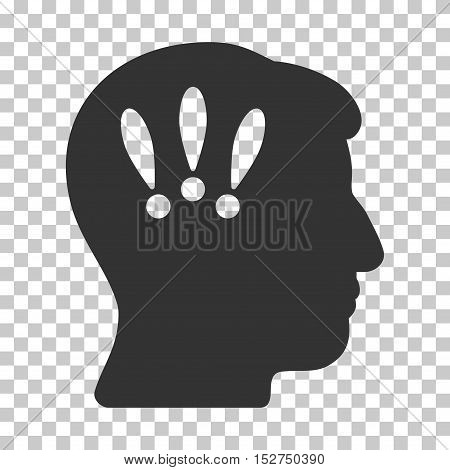 Gray Head Problems toolbar icon. Vector pictograph style is a flat symbol on chess transparent background.