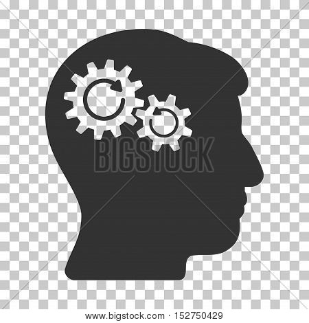 Gray Head Wheels Rotation interface icon. Vector pictograph style is a flat symbol on chess transparent background.