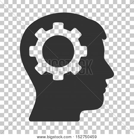 Gray Intellect Gear toolbar icon. Vector pictogram style is a flat symbol on chess transparent background.