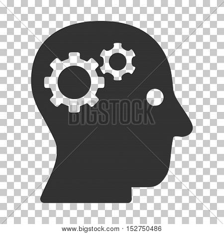 Gray Intellect Gears interface toolbar icon. Vector pictogram style is a flat symbol on chess transparent background.