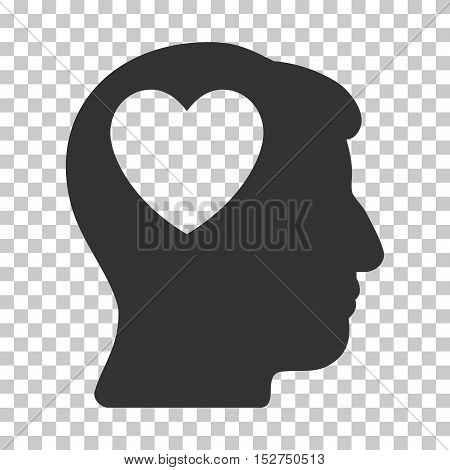 Gray Love Heart Think toolbar pictogram. Vector pictogram style is a flat symbol on chess transparent background.