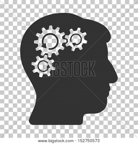 Gray Mind Gear Rotation toolbar icon. Vector pictogram style is a flat symbol on chess transparent background.