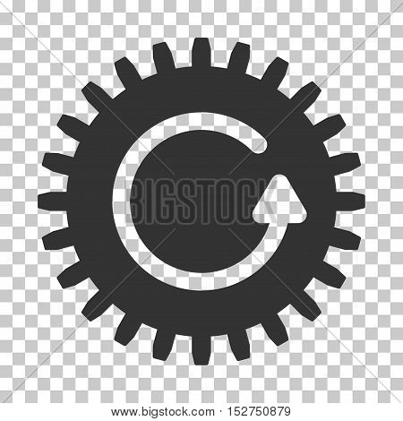 Gray Rotate Cog toolbar icon. Vector pictograph style is a flat symbol on chess transparent background.