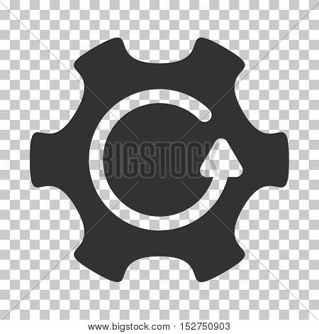 Gray Rotate Gear interface pictogram. Vector pictogram style is a flat symbol on chess transparent background.