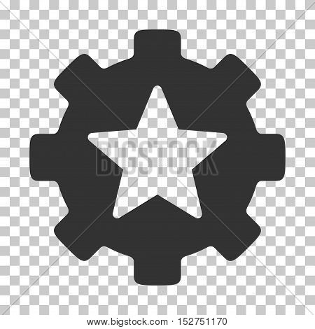 Gray Star Favorites Options Gear interface icon. Vector pictogram style is a flat symbol on chess transparent background.