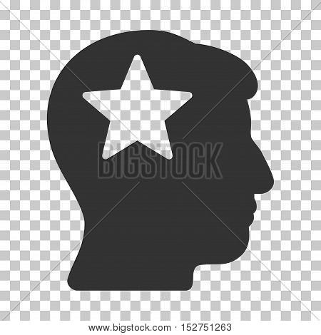 Gray Star Head interface toolbar pictogram. Vector pictograph style is a flat symbol on chess transparent background.