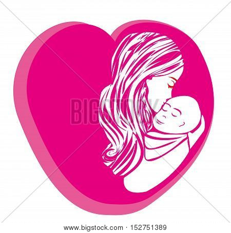 Mother kissing her child. Happy Mothers Day. Greeting card. Vector illustrations.