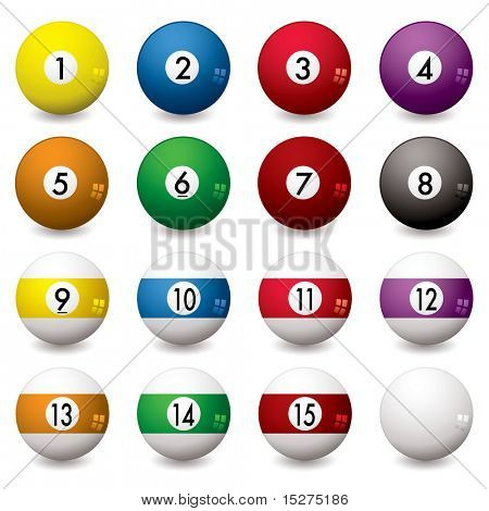 Collection of pool balls numbered from one to fifteen with shadow