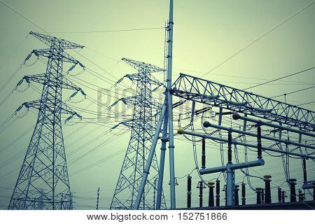 Look Up High-voltage Power Tower
