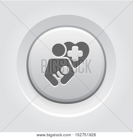 Life Care Icon. Grey Button Design. Isolated Illustration. Mother holding a newborn baby and a Heart with cross in behind.