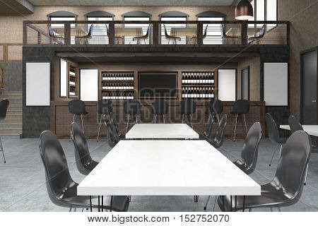 Restaurant interior with white tables and black chairs. Bar table and blackboard. Posters on the walls. Concept of eating out. Mockup. 3d rendering
